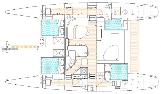 PatiCat Voyage 440 catamaran floorplan